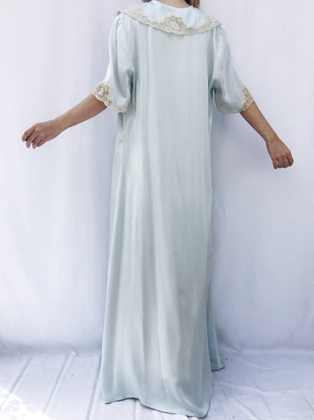 1930s Light Blue Silk Lace Dressing Gown - S/M