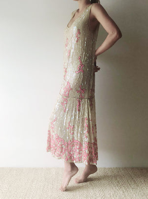1920s Ivory Sequins Flapper Dress - M