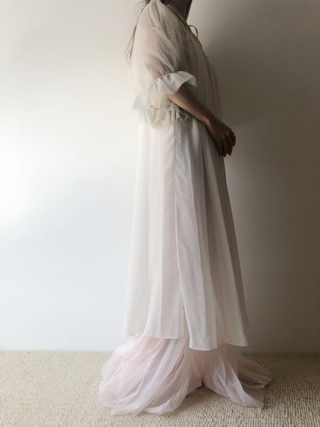 1960s White Chiffon and Tulle Dressing Robe - One Size