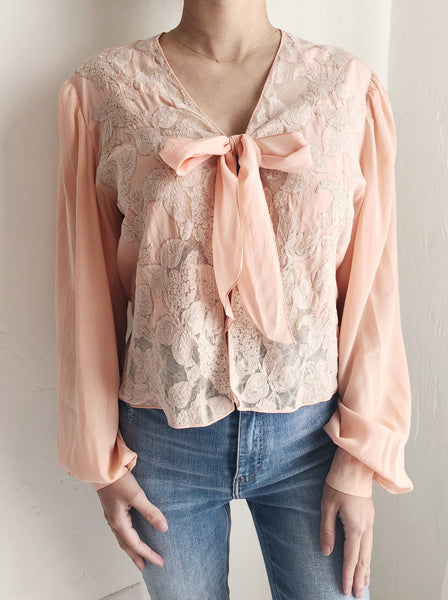 RARE 1930s Dusty Pink Silk Cutout Poet Sleeves Top - S
