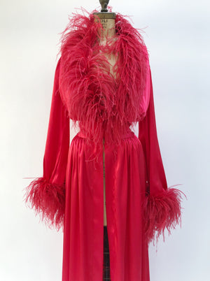 VTG Satin Ostrich Trim Dressing Gown - M