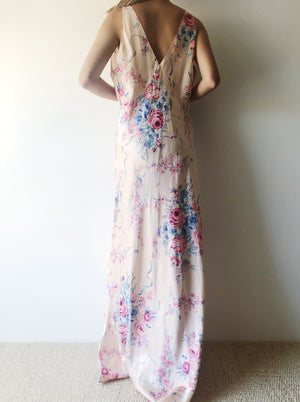 1930s Bias Cut Floral Print Dress - M/L