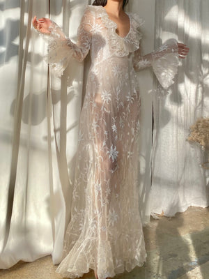 1960s Silk Organza Wedding Gown - M