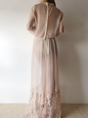 1960s Nude Micropleated Dress - S/M