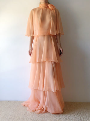 1960s Sherbet Orange Sheer Chiffon Gown - S