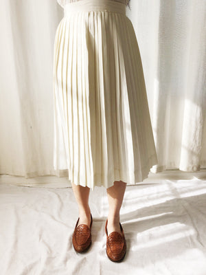1950s Ivory Cotton Pleated Skirt - XS/S