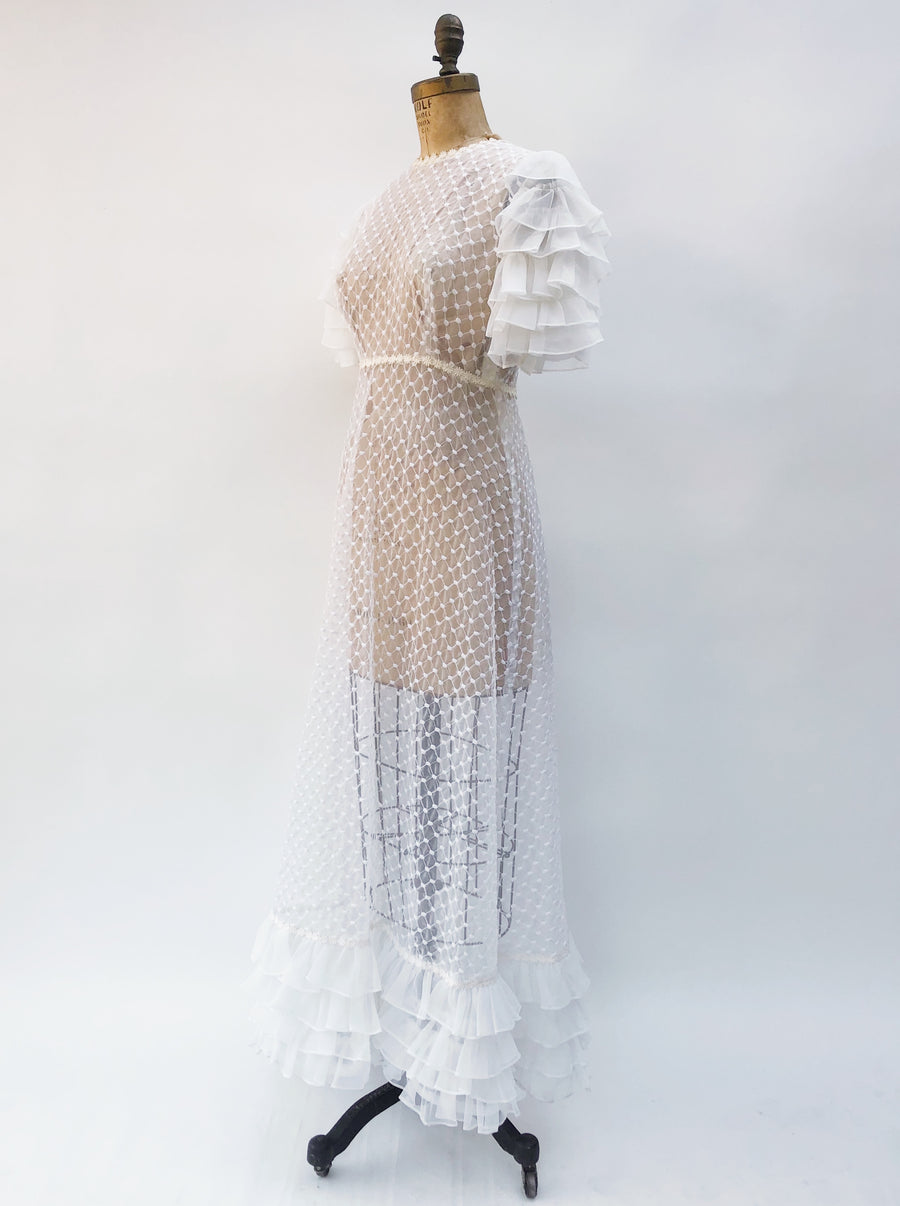 1960s Sheer Embroidered Voile Gown - S