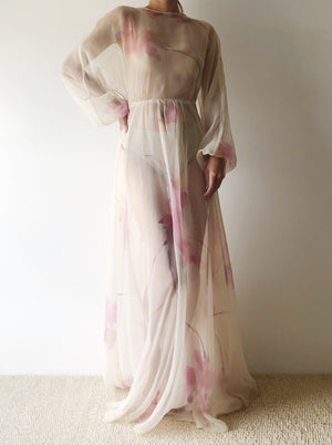 1960s Sheer Watercolor Chiffon Dress - S
