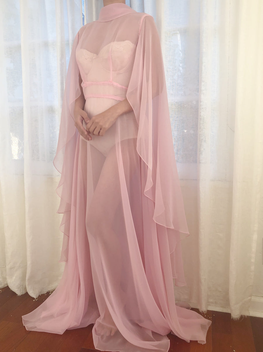 1960s Pink Chiffon Cape Dress - S