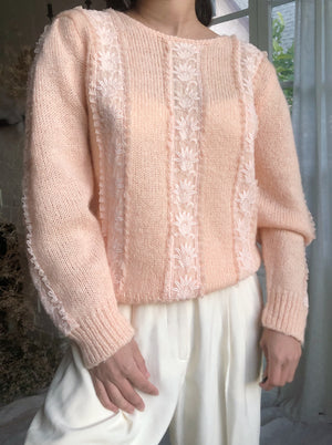 Vintage Peach Wool and Angora Pullover - M