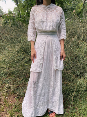 Antique Batiste Embroidered Dress - XS/S