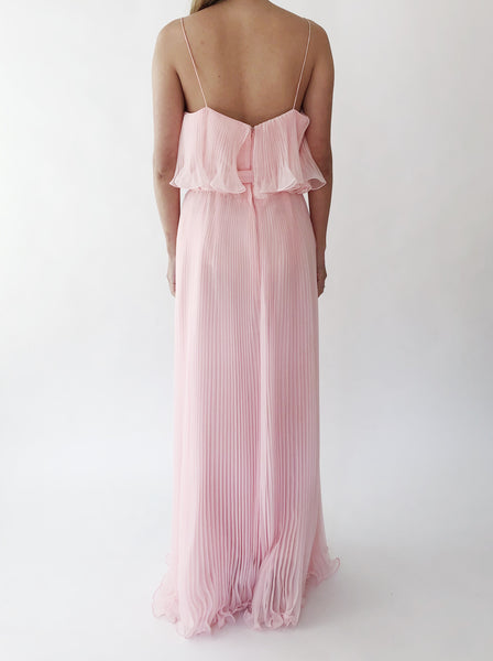 1970s Pink Pleated Dress - S