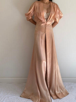 1930s Candlelight Satin Peach Dressing Robe - M