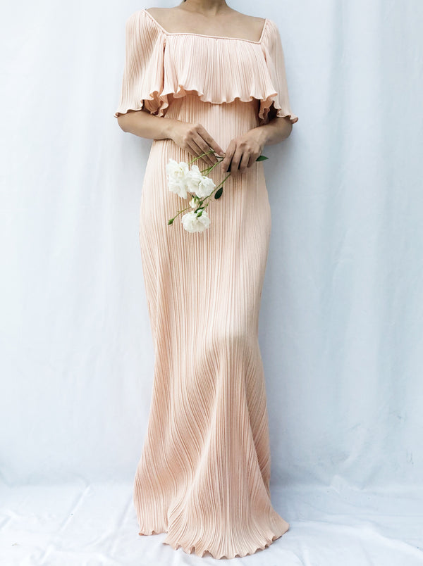 1970s Light Peach Pleated Gown - S/M