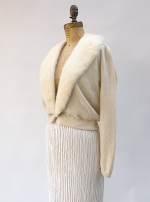 1950s Ivory Cashmere and Mink Cardigan - S