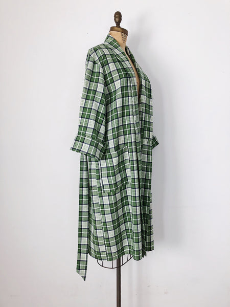 1970s Green Tartan Wool Blend Duster - M