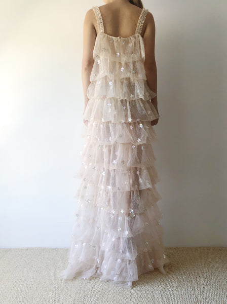 GOSSAMER Light Peach Tiered Dress - OSFM