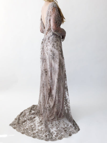 GOSSAMER Mauve/Lavender Beaded Lace Gown - 6/8