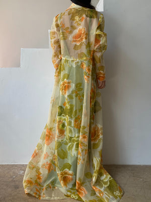 1960s Sheer Floral Long Duster/Jacket - M/L