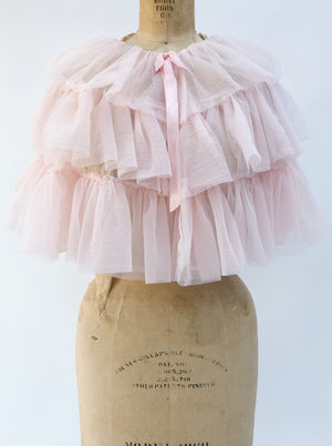 1950s Pink Tulle Capelet - One Size