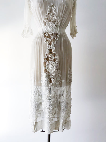 Edwardian Embroidered Cotton Gauze Dress - XS