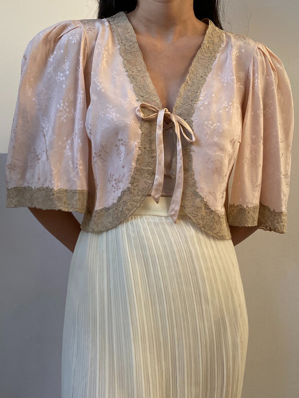 1930s Pink Silk Open Top - S