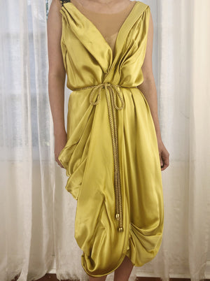 1990s Chartreuse Silk Draped Dress - S/M
