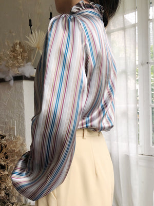 Vintage Striped Satin High Neck Blouse - S/M