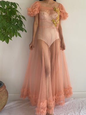 1930s Coral Tulle Dress - M