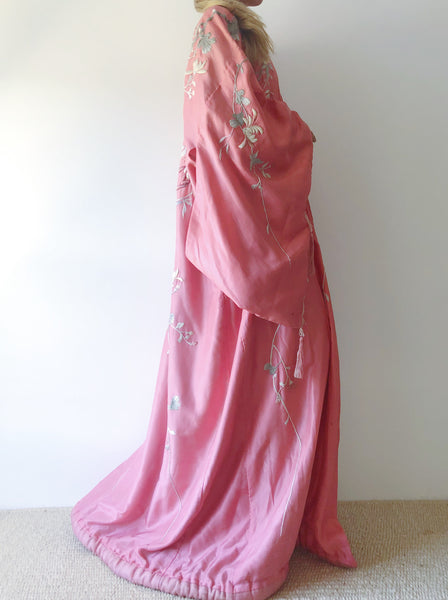 Antique Silk Embroidered Kimono in Rose - One Size