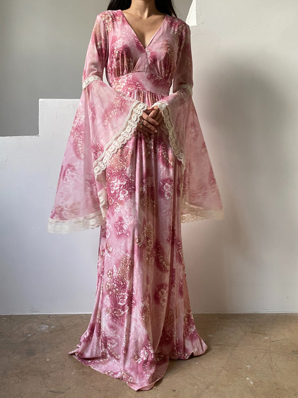 1970s Pink Angel Sleeves Dress - S/M