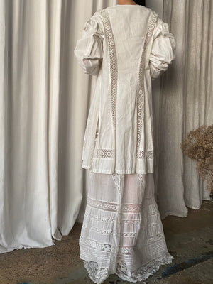 Antique Ivory Puff Sleeve Linen Duster - M/L