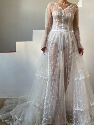 1950s Sheer Tulle Lace Wedding Gown - XS/S