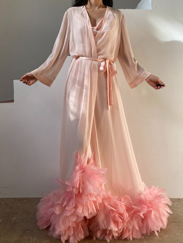 Vintage Oscar de la Renta Feather Dressing Gown - OSFM