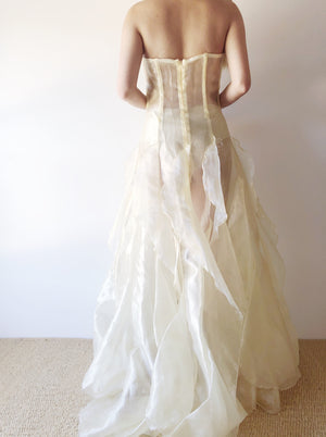 VTG Strapless Sheer Yellow Ruffled Gown - XS