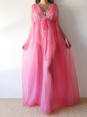 1960s Watermelon Double Layered Gown - M/L