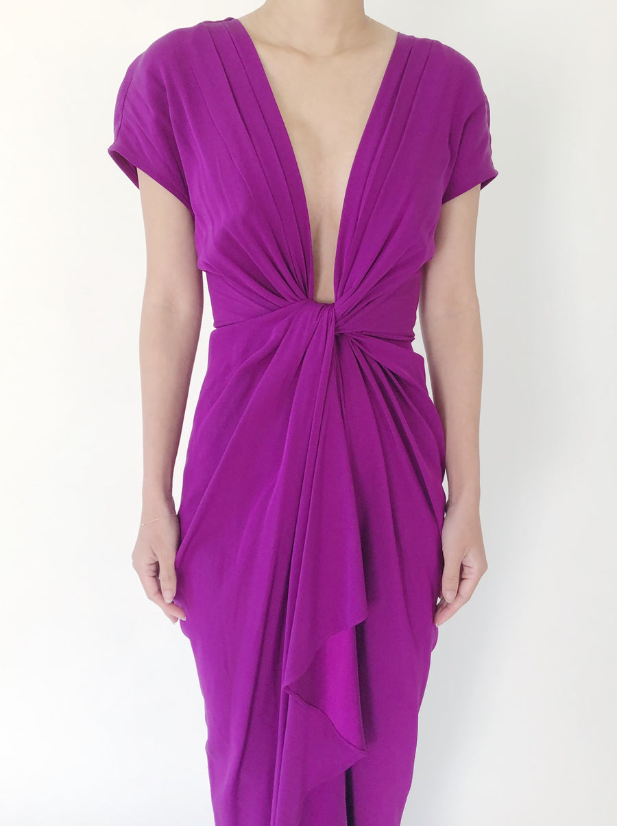 Eggplant Silk Twisted Gown - M