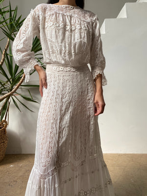 Antique Embroidered Cotton Lawn Dress - S