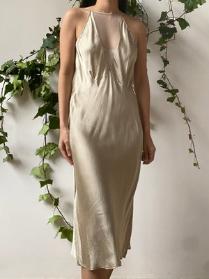 Vintage Illusion Halter Neck Silk Slip Dress - M
