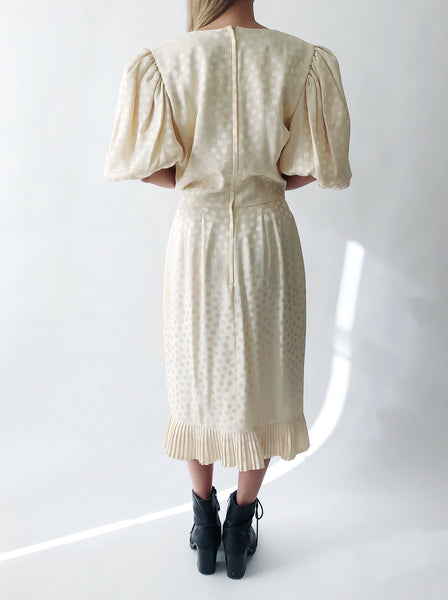 1980s Silk Puff Sleeve Dress - S/M