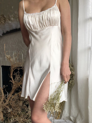 Vintage Ivory Short Slip Dress - S/M