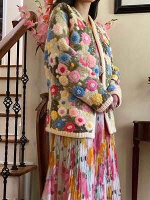 1950s/60s Floral Wool Embroidered Coat - M