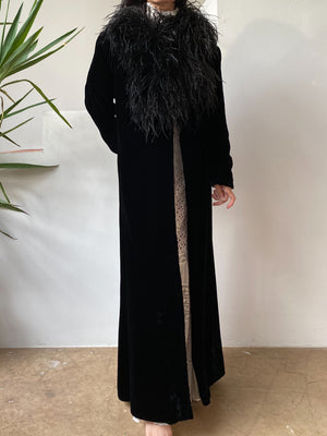 1920s/30s Black Velvet Coat with Feather Trim - S/M