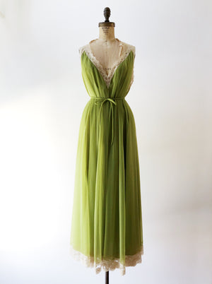 1950s/60s Green Tricot Chiffon Layered Gown  - OSFM