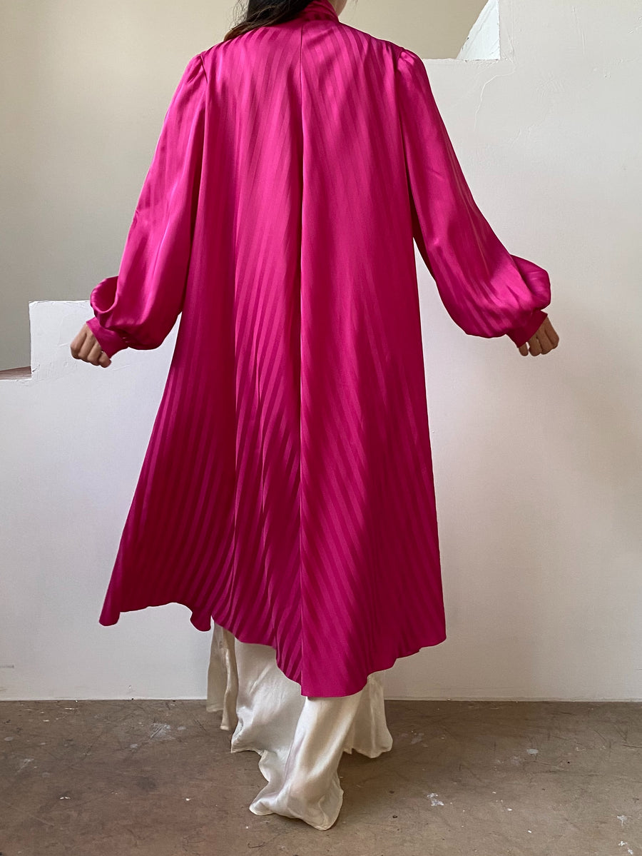 1980s Pink Faux Silk Poet Sleeves Duster/Dress- OSFM
