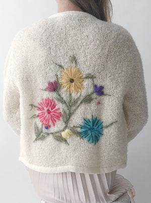 Deadstock 1950s Cream Floral Embroidered Cardigan - S/M