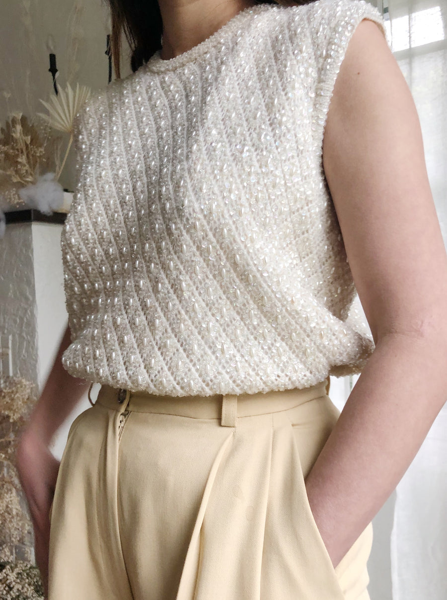 1950s Wool Top with Ivory Sequins and Beads - M/L