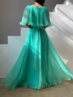1960s Teal Pleated Chiffon Dress - M