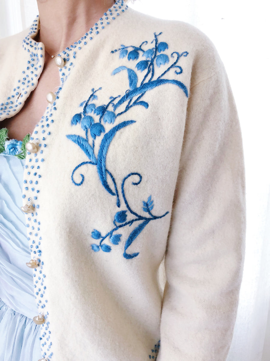 1950s Embroidered Lily Cardigan - XS/S