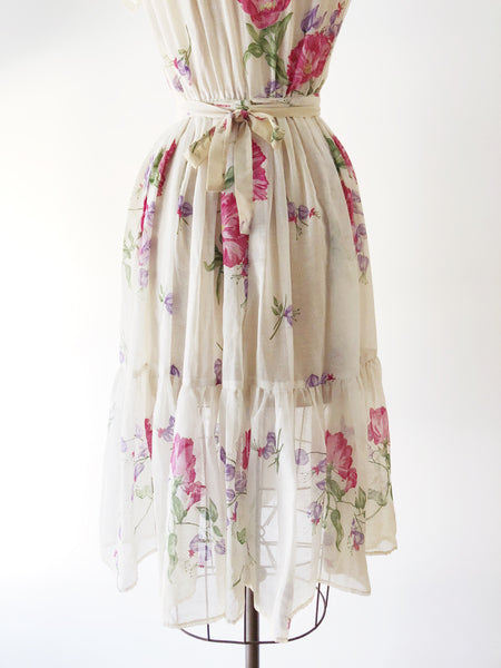 Vintage Cotton Floral Dress with Elastic Waist - S